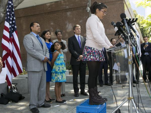 Julia Macias, a plaintiff and Los Angeles Unified School District middle school student, comments on the <em>Vergara v. California</em> lawsuit verdict in Los Angeles.