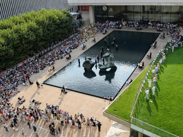 An overhead shot of the performance of John Luther Adams' <em>Sila</em> at New York's Lincoln Center Friday evening.