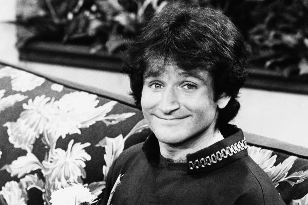 Williams on the set of ABC's <em>Mork and Mindy</em> in 1978. His character, Mork, first appeared on the show <em>Happy Days</em> before being spun off into its own show.