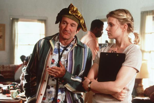 Williams and co-star Monica Potter in the 1999 movie <em>Patch Adams.</em> Although the film was commercially successful, it was one of a number of critics' flops Williams headlined in the late '90s and early 2000s.