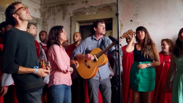 Ages and Ages performs with The Berklee Gospel and Roots Choir backstage at Newport Folk Festival.