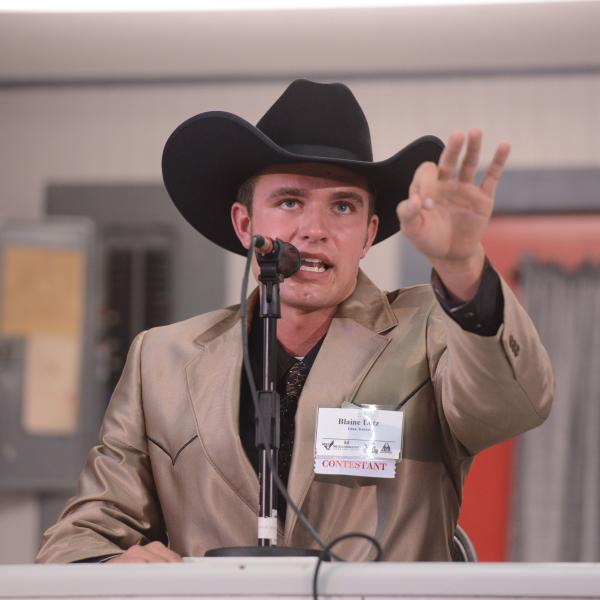 Blaine Lotz of Edna, Kan., is this year's winner of the prestigious World Livestock Auctioneer Championship, hosted by the Livestock Marketing Association.