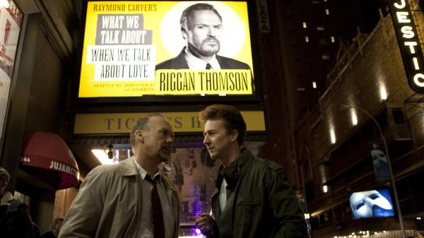 Michael Keaton stars as a washed-up film star trying to make a stage comeback in Alejandro Inarritu's <em>Birdman.</em>