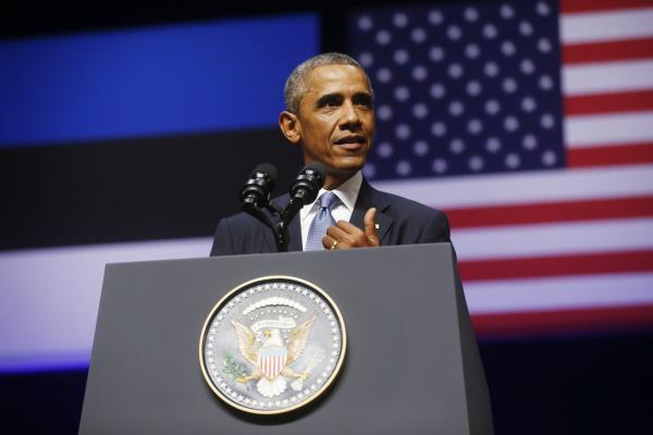 President Obama speaks Wednesday at Nordea Concert Hall in Tallinn, Estonia.