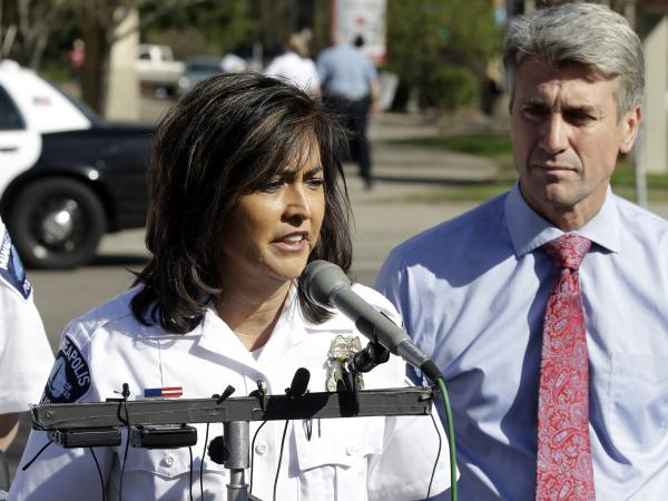 Minneapolis Police Chief Janee Harteau and former Mayor R.T. Rybak in May 2013.