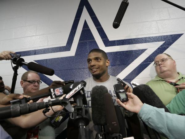 Michael Sam, a defensive end on the Dallas Cowboys practice squad, speaks to reporters at the team's headquarters on Wednesday.