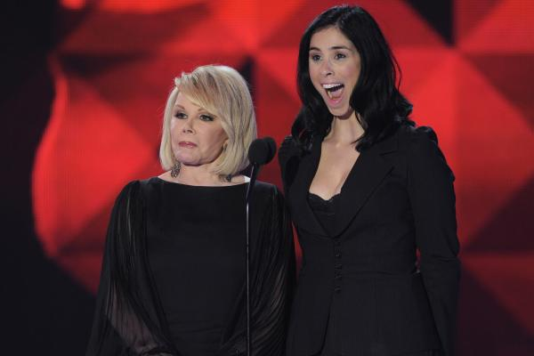 Rivers and Sarah Silverman in 2011 at the annual Critics' Choice Movie Awards. Rivers was an inspiration to younger comics like Silverman and Kathy Griffin.