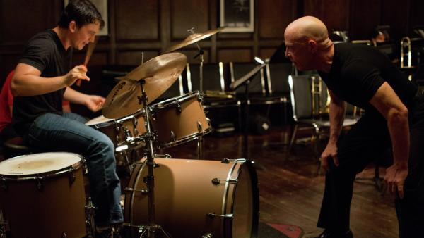 Miles Teller and J.K. Simmons in <em>Whiplash</em>.