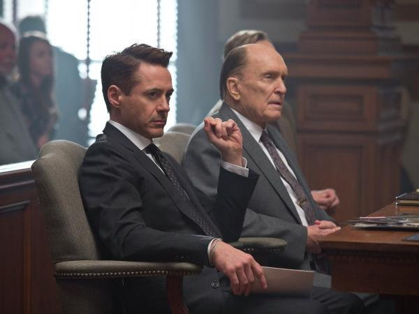 Robert Downey Jr. and Robert Duvall play a son and his distant father in <em>The Judge</em>.