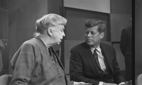 Eleanor Roosevelt speaks with presidential candidate John F. Kennedy in 1960.