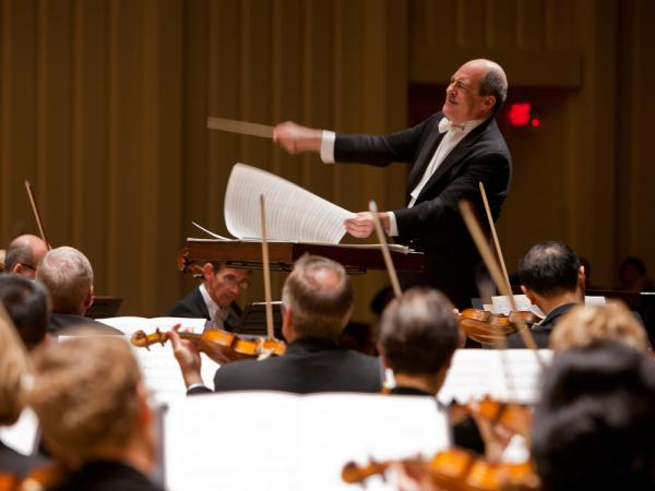 Robert Spano conducts members of the Atlanta Symphony Orchestra, who are now locked out for the second time in two years after failed contract negotiations.