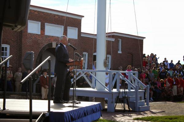 Former Secretary of State Colin Powell addressed the crowd.