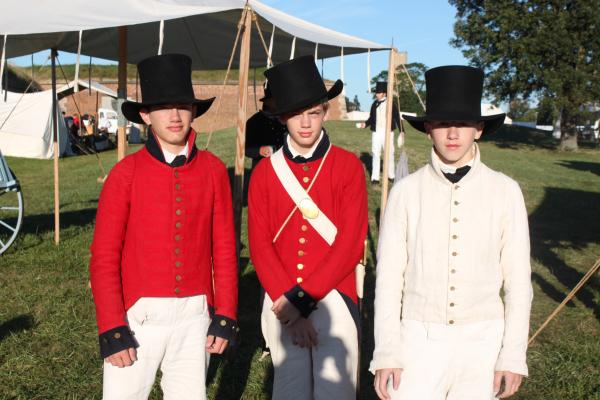 Daniel and Charles Kreger and Elias Johnston, members of the Fort McHenry Guard Fife and Drum Corps.