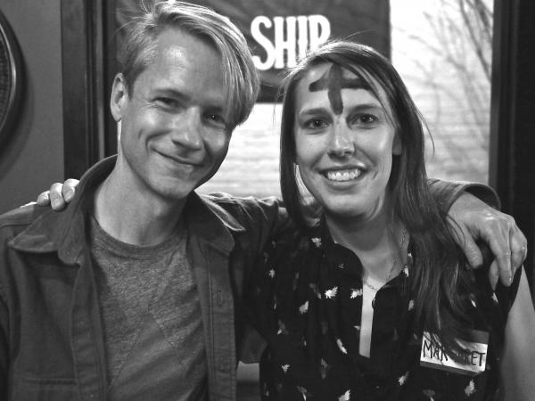 John Cameron Mitchell (left) with grand winner Margaret Bortner, post face-painting.