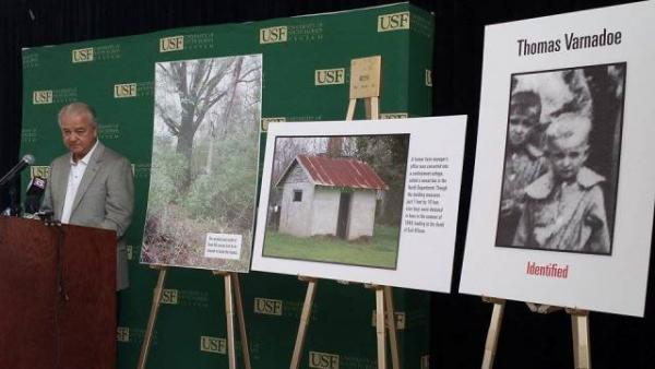 Glen Varnadoe speaks at a news conference Thursday at USF announcing the recovery and identification of remains of his uncle, Thomas.