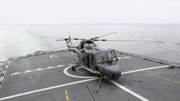 A Sea Lynx helicopter is pictured on a frigate in Eckernfoerde, Germany, in 2010.