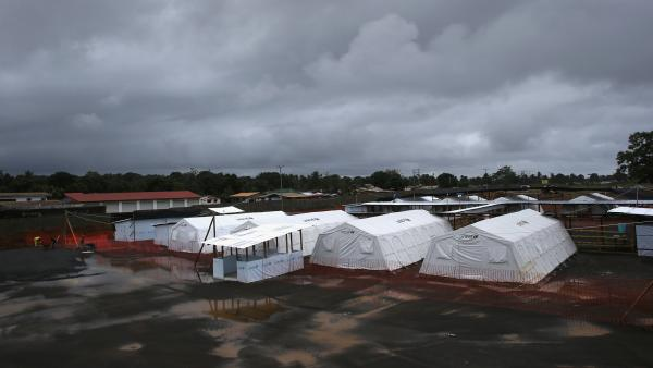 Some potential new Ebola drugs will be tested at treatment centers like this one run by Doctors Without Borders near Monrovia.