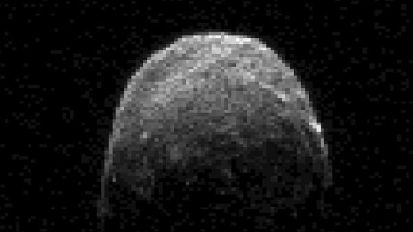 This radar image of asteroid 2005 YU55 was obtained on Nov. 7 when the space rock was at 3.6 lunar distances, which is about 860,000 miles from Earth.