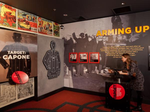 Visitors to the Mob Museum can try shooting a replica Tommy gun for themselves.