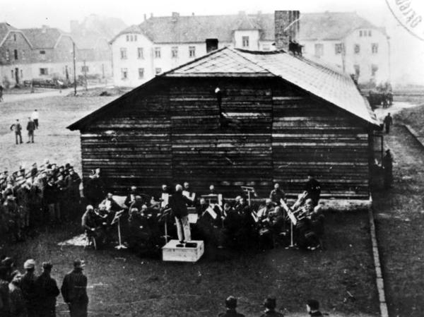 The Auschwitz Men's Orchestra is seen here in an undated photo.  Jewish musicians were forced to perform in Nazi concentration camps.