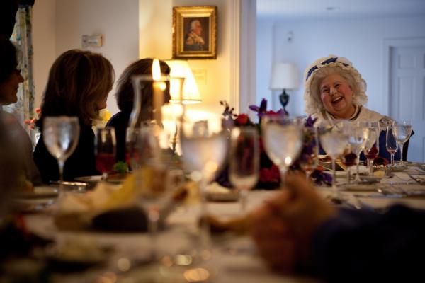 Martha Washington, portrayed by actor Mary Wiseman, serves modern-day guests the same dishes the First Couple enjoyed.