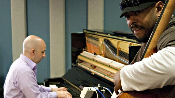 Christian McBride (right) with Peter Martin at KPLU.