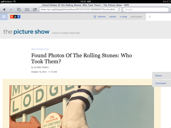 After: <em>The Picture Show</em> blog on a tablet device.