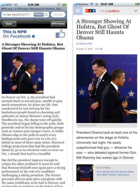 Before and after screen shots of the It's All Politics blog on a mobile device.