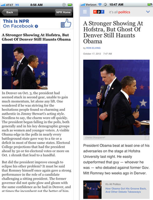 Before and after: The <em>It's All Politics</em> blog on a mobile device.