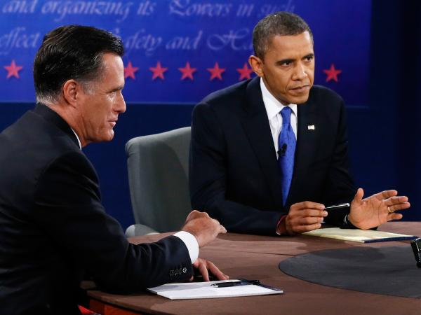 President Obama and former Massachusetts Gov. Mitt Romney at tonight's debate in Boca Raton, Fla.