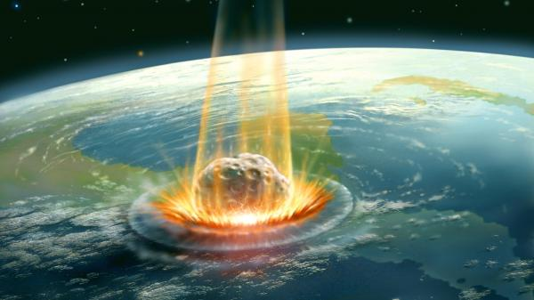 An asteroid impact like the one in this illustration may have killed off the dinosaurs.