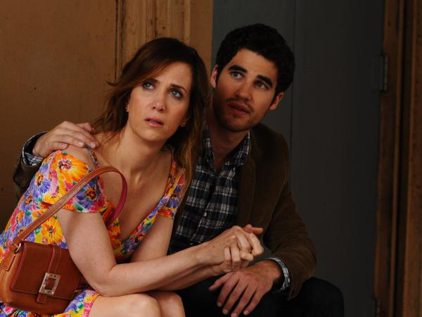 """Lee (Darren Criss) is an aspiring musician who's rented a room in Imogene's childhood home — which makes for <a href=""""javascript:NPR.Player.openPlayer(202962328,%20203077550,%20null,%20NPR.Player.Action.PLAY_NOW,%20NPR.Player.Type.STORY,%20'1')"""">some awkwardly overcrowded moments</a>."""