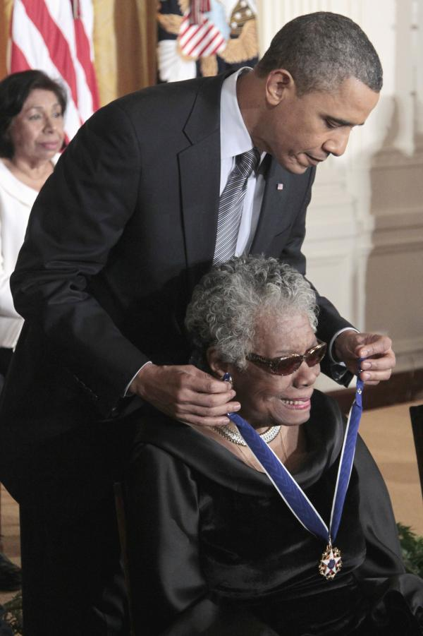 President Obama presents a Medal of Freedom to Angelou during a ceremony at the White House on Feb. 15, 2011.