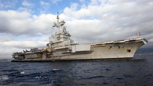 French nuclear aircraft carrier Charles De Gaulle floats near Naples, Italy, last year.
