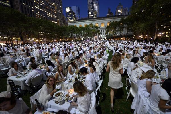 Some 4,000 guests, all dressed in white, showed up for the secret dinner party in New York City's Bryant Park.