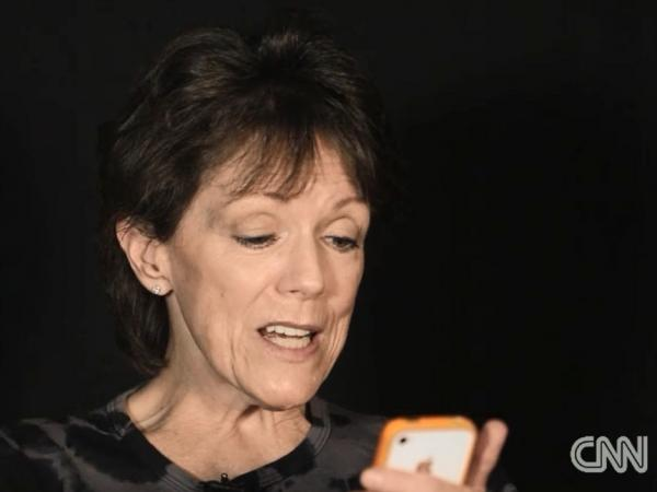 Voice actor Susan Bennett, talking to herself (or, rather, Siri) for CNN.