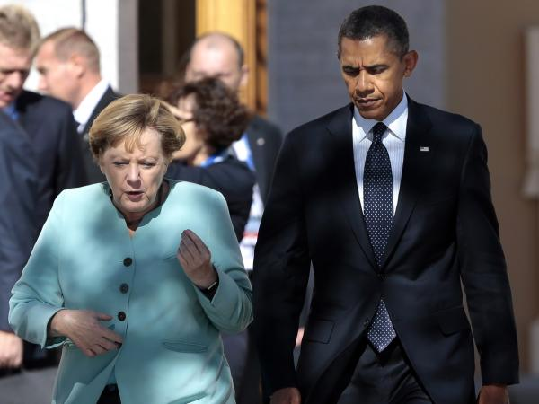 President Obama walks with German Chancellor Angela Merkel in St. Petersburg, Russia, on Sept. 6, 2013. Relations between the two allies are strained after documents leaked by Edward Snowden, a former National Security Agency contractor, suggested the agency had spied on Merkel and other world leaders.