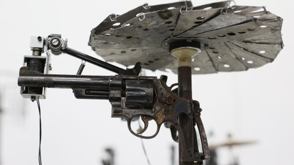 Mexican artist Pedro Reyes received 6,700 weapons from the Mexican government, from which he sculpted instruments.