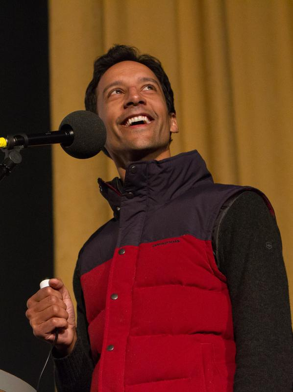Danny Pudi, at the Castro Theatre in San Francisco, where <em>Ask Me Another</em> performed as part of SF Sketchfest, the comedy festival.