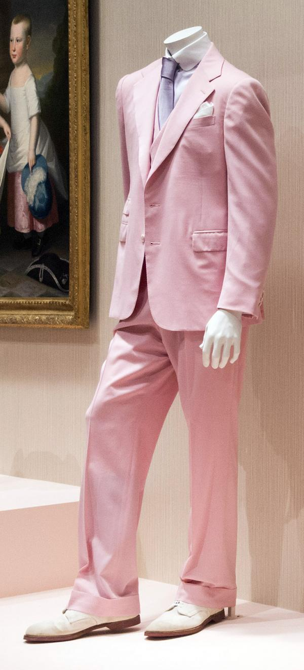 A copy of the Ralph Lauren suit made for Robert Redford in the 1974 film version of F. Scott Fitzgerald's <em>The Great Gatsby.</em>