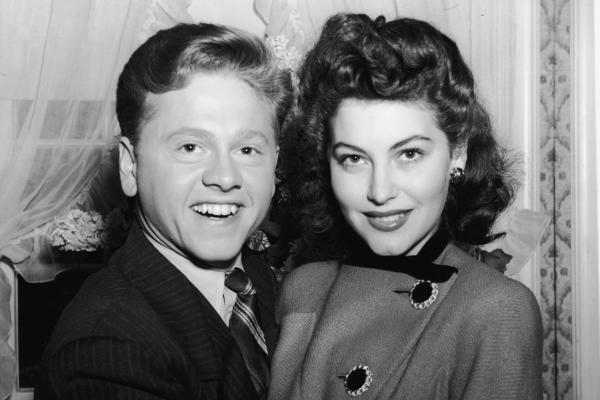 "Rooney and his first wife, actress Ava Gardner, are photographed shortly before their wedding in 1942. ""He married a lot of grown women,"" author Arthur Marx said, ""and it was hard to see him as a teenager when he was married to someone like Ava Gardner."""