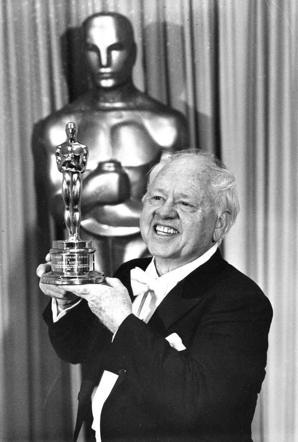 Rooney poses with his Honorary Oscar for Lifetime Achievement at the 55th Annual Academy Awards ceremony in Los Angeles in 1983. Rooney was honored for his 60 years of contribution to the motion picture industry.