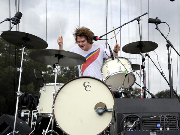 Michael Benjamin Lerner, drummer and lead singer for the band Telekinesis, performing live at Austin City Limits.