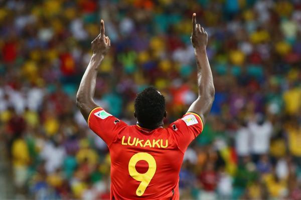 Romelu Lukaku of Belgium celebrates scoring his team's second goal in extra time.