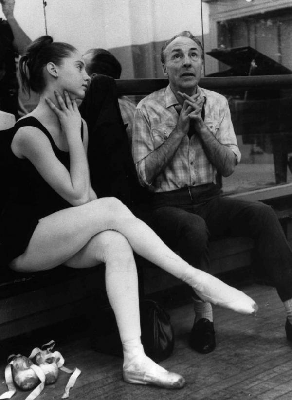 Ballerina Suzanne Farrell, 17, with choreographer George Balanchine during a 1963 rehearsal in New York.