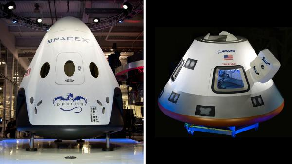 The new capsules are being built by Boeing and SpaceX. They look similar, but there are differences.