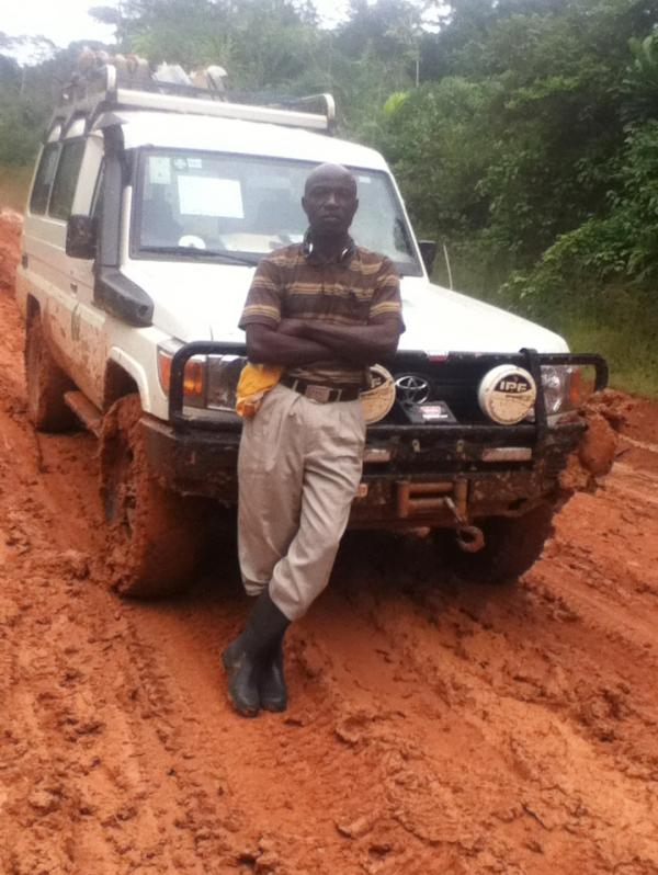 Deep mud makes the roads in rural Liberia difficult to navigate during the current rainy season. It took 12 hours for health worker Lorenzo Dorr to travel 200 miles to reach Rivercess County.