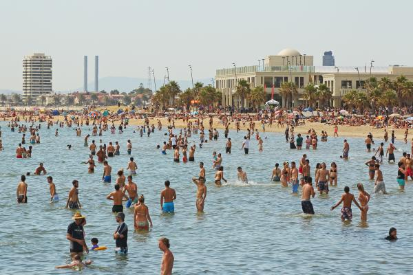 Melbourne visitors and residents took to the waters of Australia's St. Kilda Beach in January 2013 to escape a fierce heat wave.