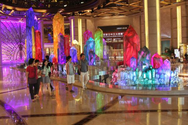 Visitors stroll through the lobby of the Galaxy Macau casino on the Cotai Strip, land that was created when two of the territory's islands were joined.