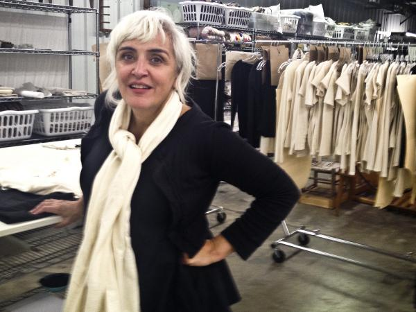 Fashion designer Natalie Chanin stands in front of in-progress garments at the Alabama Chanin Factory. Chanin and Billy Reid, internationally acclaimed designers, have teamed up to test the concept of organic, sustainable cotton farming and garment-making.